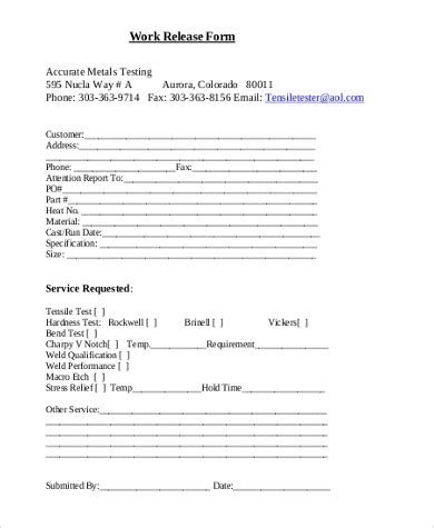 20119 work release form work release form sle 9 free documents in word pdf