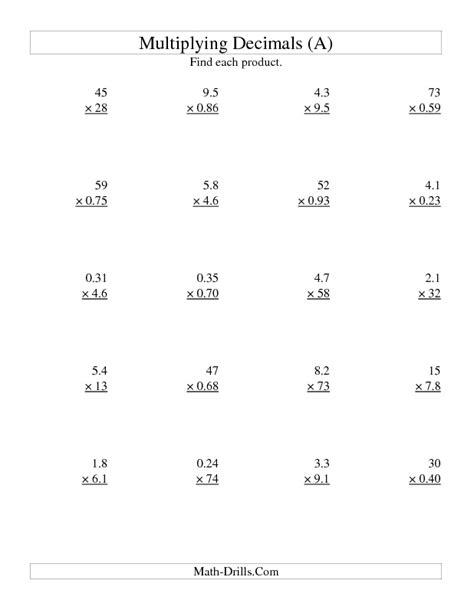 multiplying decimals worksheet two digit by two digit