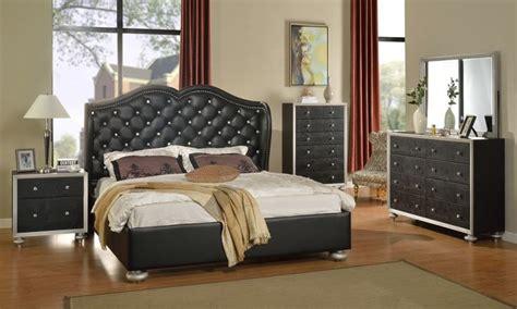glam black tufted leather bed modern bedroom