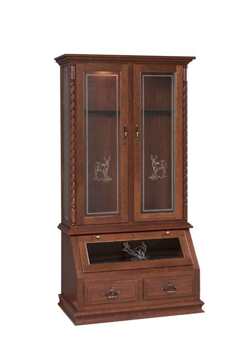 solid wood gun cabinet  deer design