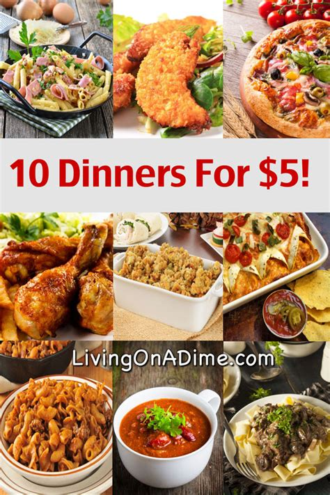 food ideas for dinner 10 dinners for 5 cheap dinner recipes and ideas