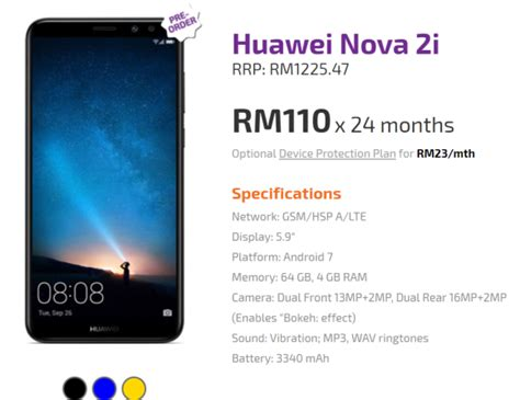 You can get the Huawei Nova 2i from RM110/month ...