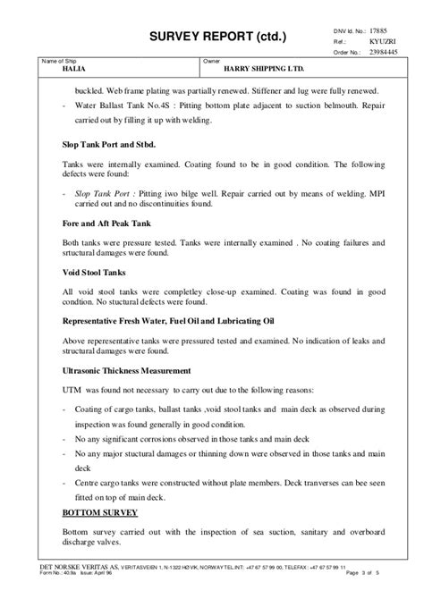 DNV Survey Report_HALIA_Renewal Survey Class and Statutory
