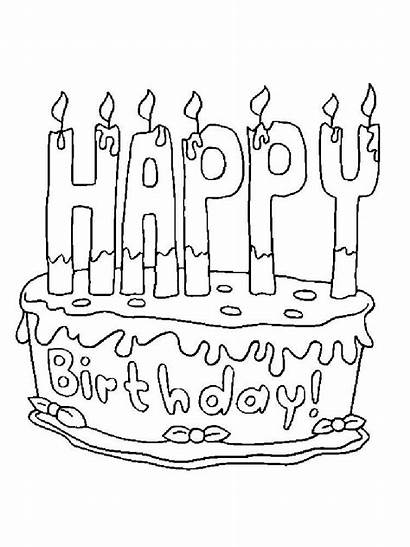 Happy Coloring Birthday Pages Cake Printable Colors