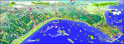 Side Map Tourist Turkey Hotels Shows Points