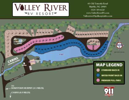 Resort Map Murphy Nc  Valley River Rv Resort Site Map