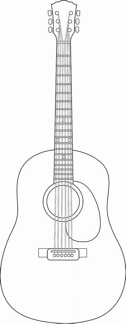 Guitar Acoustic Clip Line Clipart Blank Coloring