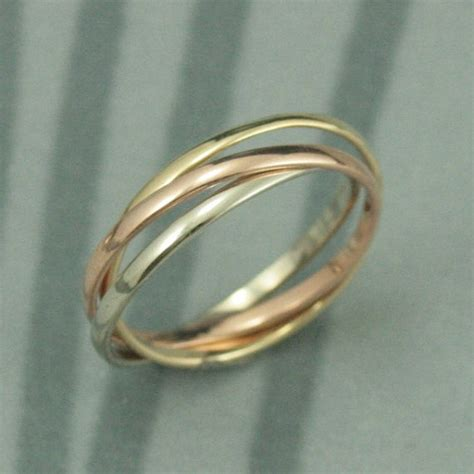 14k tri color rolling ring white and yellow gold interlocking ring three 1 5mm wide half