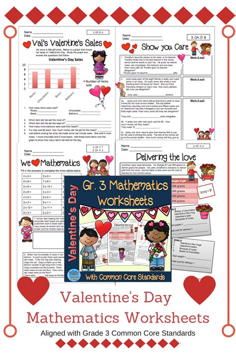 valentine worksheets for grade 3 valentine s day mathematics worksheets grade 3