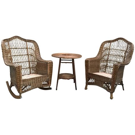 antique heywood wakefield wicker chair and rocker at 1stdibs