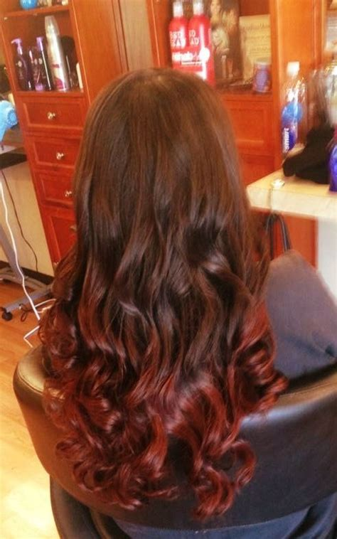 Brown To Red Ombre Curls And Waves Done By Chris K