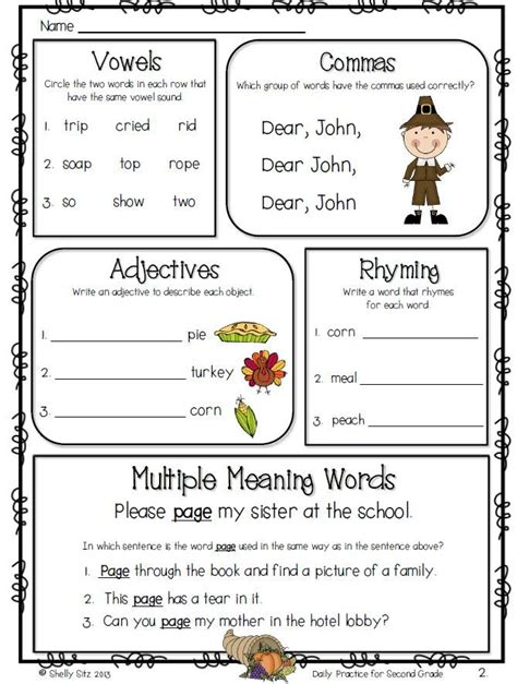 2nd grade language arts review worksheets 17 best images about second grade material on