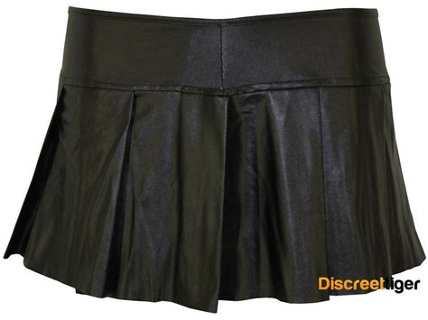 Pleated Flared Mini Skirt Black Micro Short Wet Pvc Fetish