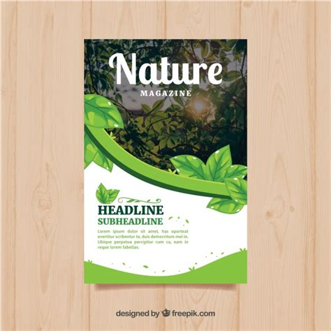 modern nature magazine cover template  photo vector