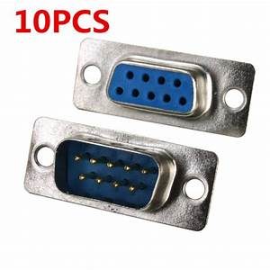 10pcs Rs232 Serial Port 9 Pin Db9 Connector Female Male