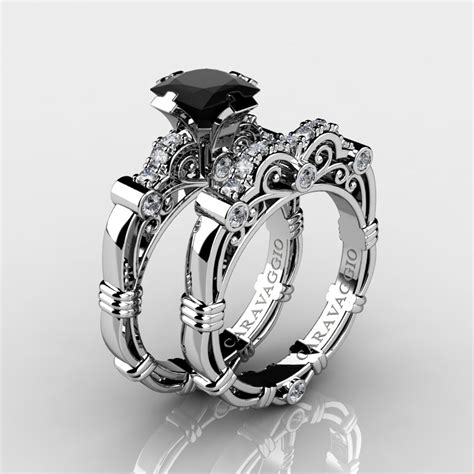masters caravaggio 14k white gold 1 25 ct princess black and white engagement ring
