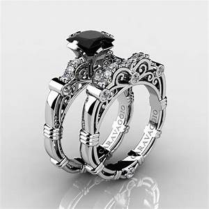 art masters caravaggio 14k white gold 125 ct princess With black diamond engagement and wedding ring sets