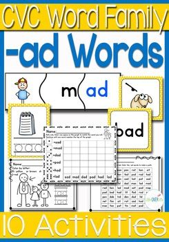 ad word family cvc gamescenters  worksheets usuk