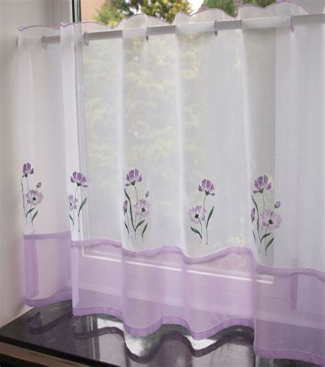 ready made cafe curtain one panel kitchen voile net
