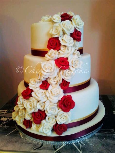 burgundy white rose cascade wedding cake cake