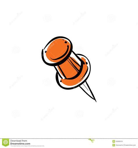 punaise de bureau punaise orange de vecteur d 39 isolement sur le fond blanc