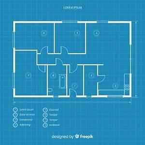 Blueprint, Of, A, House, Flat, Lay