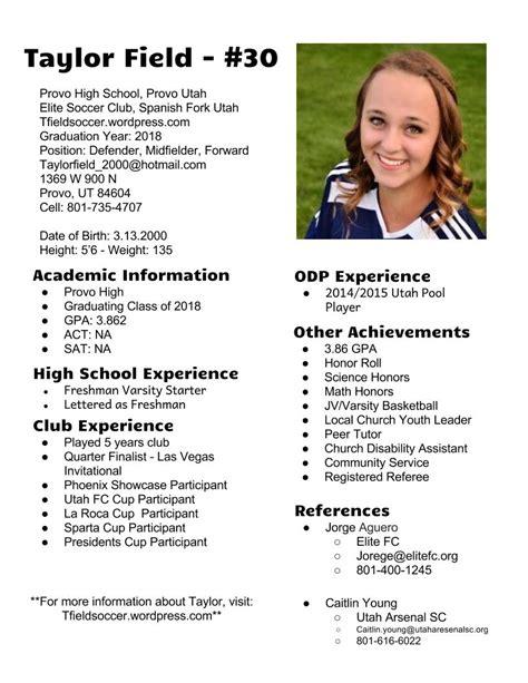 Soccer Resume by Field Soccer Resume