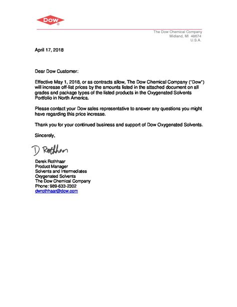 price increase letter uscust greenchem