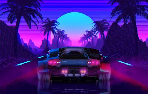 Wallpaper The Sun, Lamborghini, Background, 80s, Neon