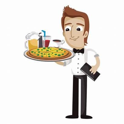 Waiter Serving Clipart Cartoon Funny Camarero Clip