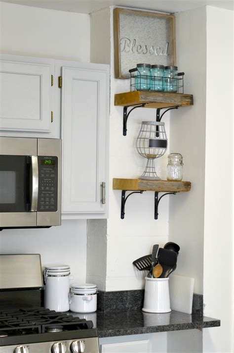 diy reclaimed wood kitchen shelves hbungalow