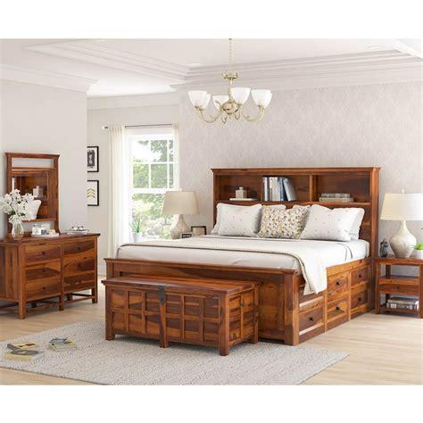 mission modern solid wood king size platform bed 7pc bedroom set