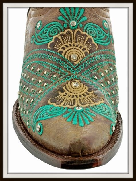 wild flower boots silver rhinestone studded turquoise