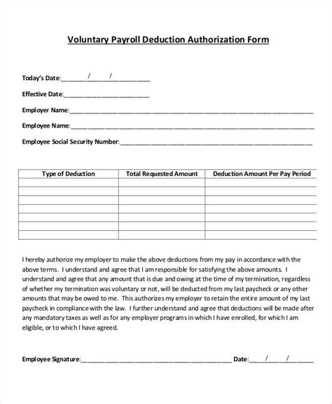 payroll deduction authorization form template charlotte
