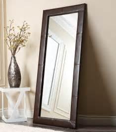 floor mirror brown mirrors delano brown leather floor mirror