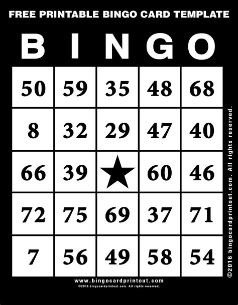 printable bingo card template bingocardprintoutcom