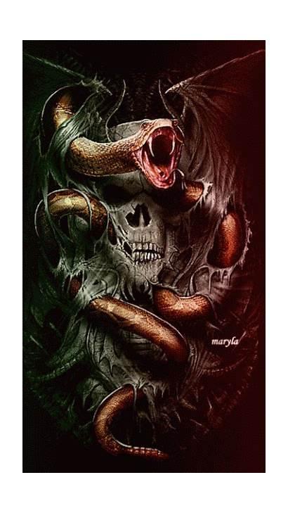 Snake Skull Reaper Grim Fantasy Tattoo Skulls