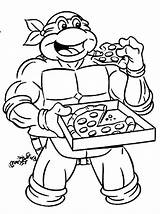 Coloring Pages Pizza Ninja Eating Printable Turtle Adults sketch template