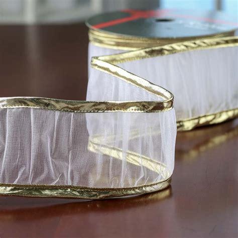Gold Metallic And White Ruffled Organza Wired Ribbon