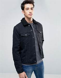 Lyst - New look Denim Jacket With Borg Detail In Black in Black for Men