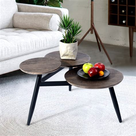 Its metal base has a gold finish and features three legs with support bars. Topcobe Coffee Table, Small Wooden Round Sofa End Tables ...