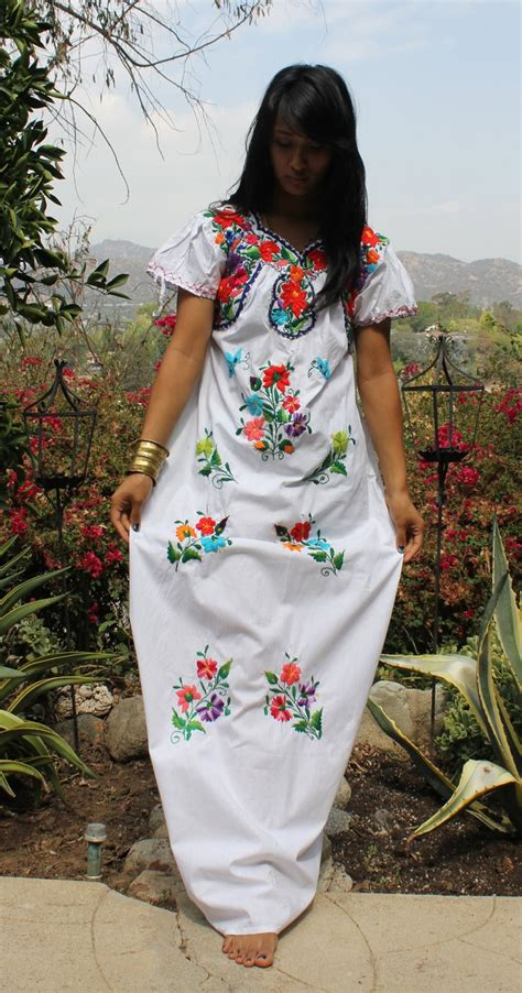 beautiful mexican wedding maxi dress natural cotton hand