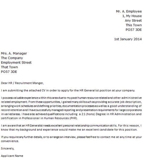 hr generalist cover letter  icoverorguk