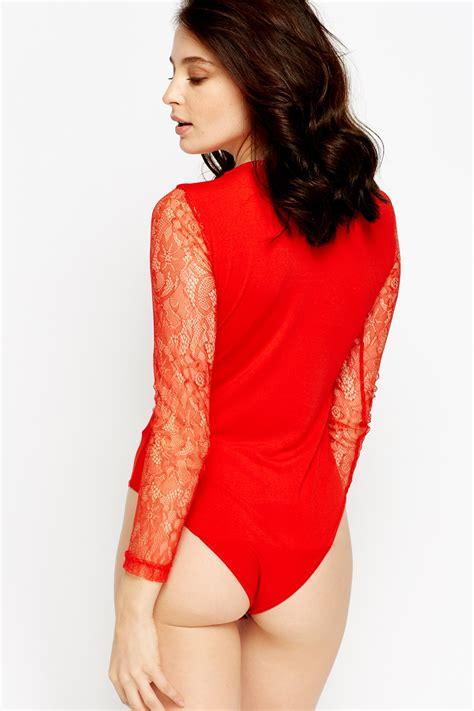 Lace Insert Detailed Bodysuit   Red   Just £5