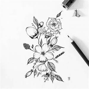 Drawn flower illustration - Pencil and in color drawn ...