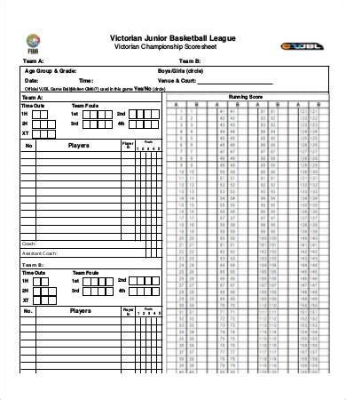 basketball score sheet    documents