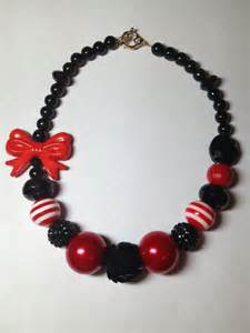 Black Red Chunky Beads Necklaces