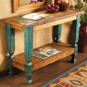 Western furniture old wood turquoise console table lone for Best brand of paint for kitchen cabinets with metal ship wall art