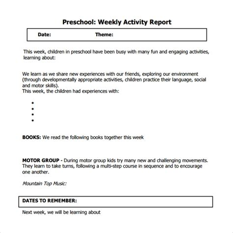 sample weekly activity reports  word apple