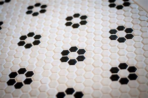 glazed ceramic hexagon tile black and white pattern